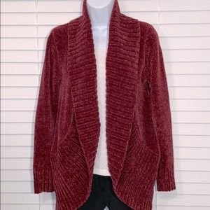 A new day deep red chenille shawl collar cardigan